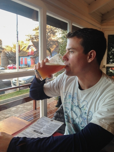 Brandon enjoying a Cerveza at one of our favorite Cervezaria's in town, Manush. Beer flows like water in this town (and costs just as much)!