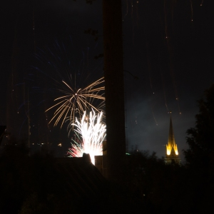Fireworks on the last day of a SnowFest celebration in Bariloche. The Cathedral is beautifully lit on the right!