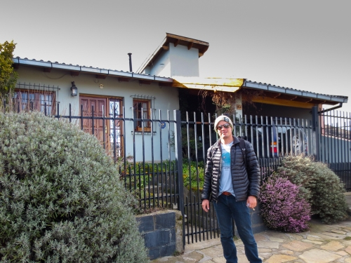 Brandon in front of our Bariloche homestay: Casa de Mara!