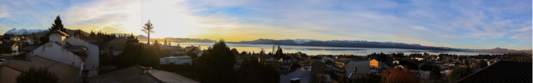 Panoramic sunrise captured from the balcony of our home stay: Casa de Mara