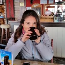 Having Hot Chocolate before heading down for Apres Ski