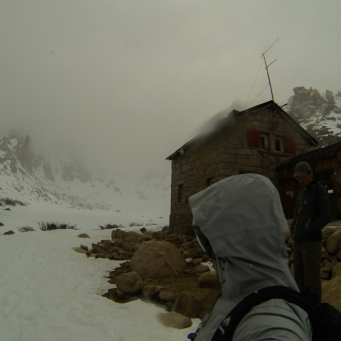 Outside the refugio before heading into snowy conditions