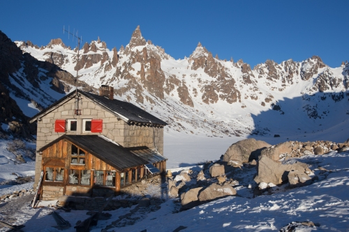 Refugio Frey and beautiful peaks that surround the isolated mountain hut