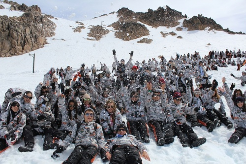 Large groups of Argentinian students roam Bariloche and the mountain on their right-of-passage bing-drinking trip upon graduation