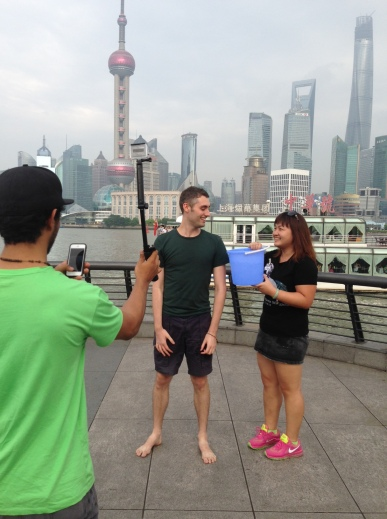 Executing the ice-bucket challenge along the Bund!