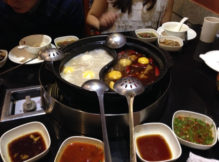 Chinese styled hot pot (i.e. shabu shabu, but better!) with one side spicy, one side mild.