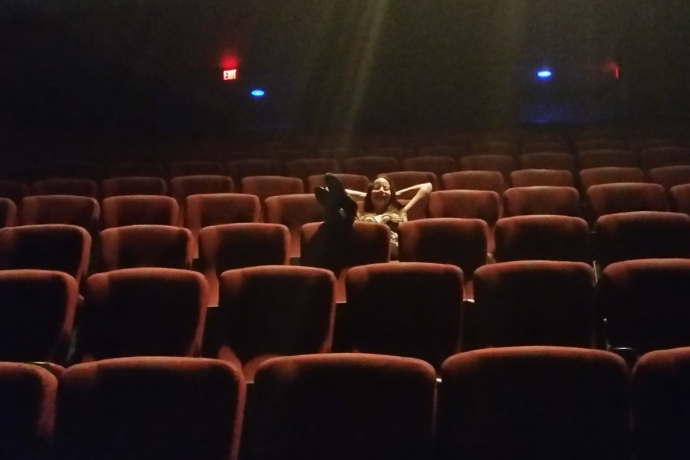 Jannika enjoying being the only other person besides myself at the IMAX theatre showing of Teenage Mutant Ninja Turtles