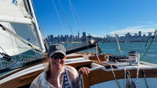 Mom on the sail back