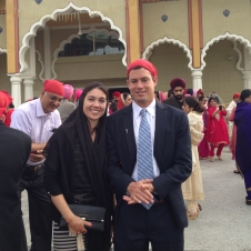 Brandon and me at the Sikh temple - we had to have our heads and shoulders covered before entering the temple
