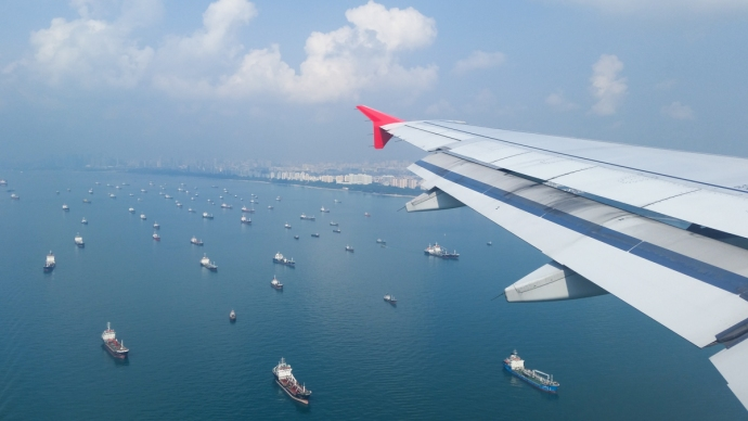 Flying into Singapore, one of the largest ports in the world