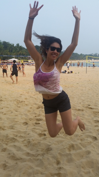 At the beach on Sentosa Island