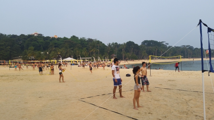 Playing some beach volleyball with new friends