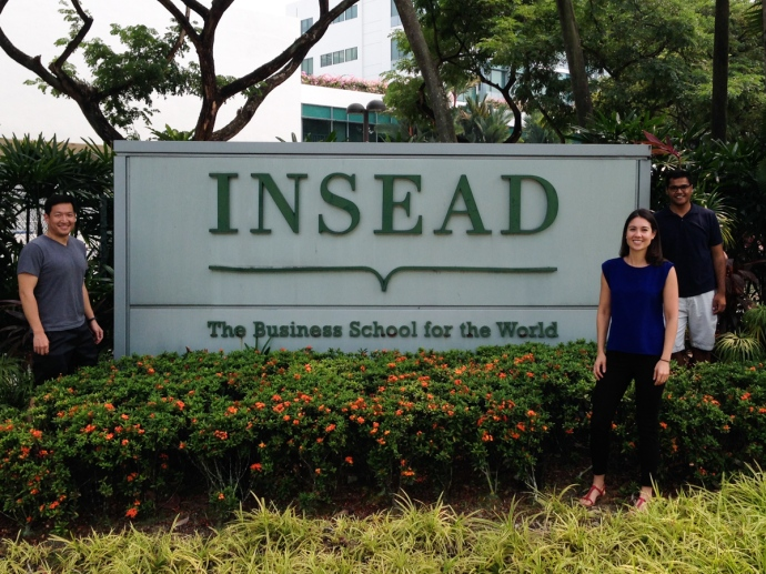 In front of the INSEAD Singapore campus marquee with Bryan and Mudit