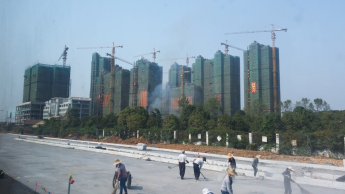 On the way into Changsha, a city being rapidly built and supposedly soon to have the world's tallest building.