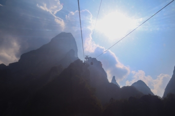 The gondala ascent from Zhangjiajie town.