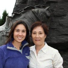 Donna and her mom in front of a statue of some famous Hunan Province general.
