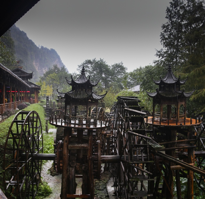 Some really cool water wheels outside the Yellow Dragon caves