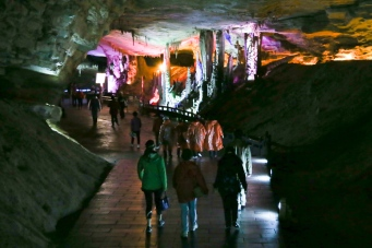 Walking through the cave.