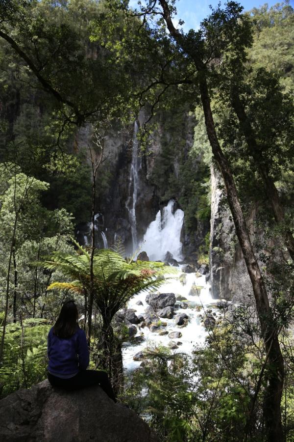 Donna in front of Tarawera Falls