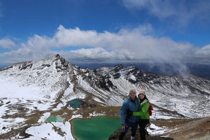 The sulfuric lakes were a brilliant blue/green color.