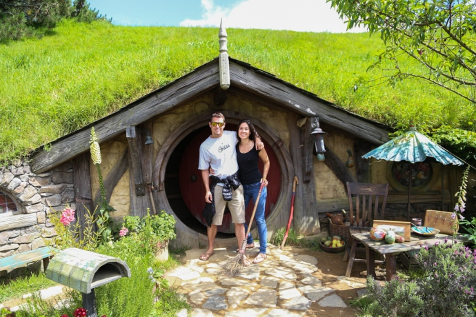 Donna and I posing in front of a Hobbit hole.