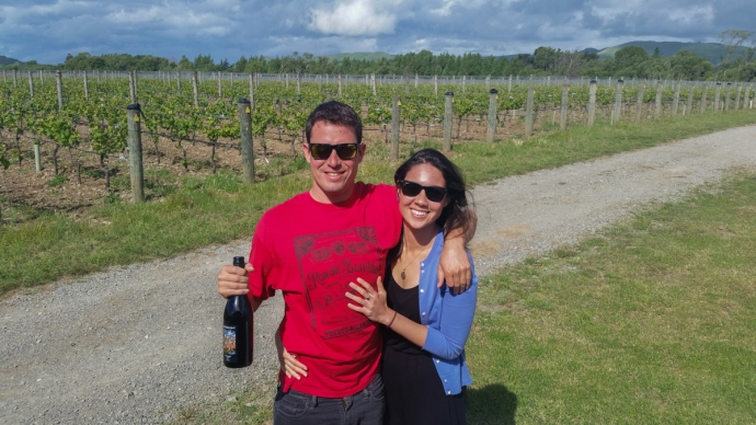 In front of the vines at Johner Estate