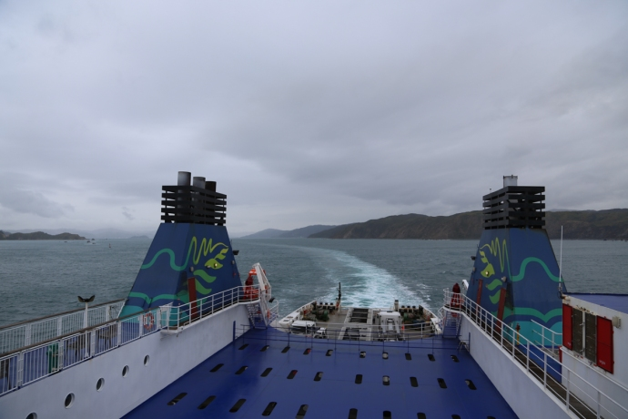 Looking towards Wellington over the stern of the large ferry that brought us and our campervan to the South Island