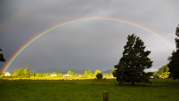 Epic rainbow (with a hint of double rainbow in the upper left) that we found during our long drive north from Wellington to Raglan
