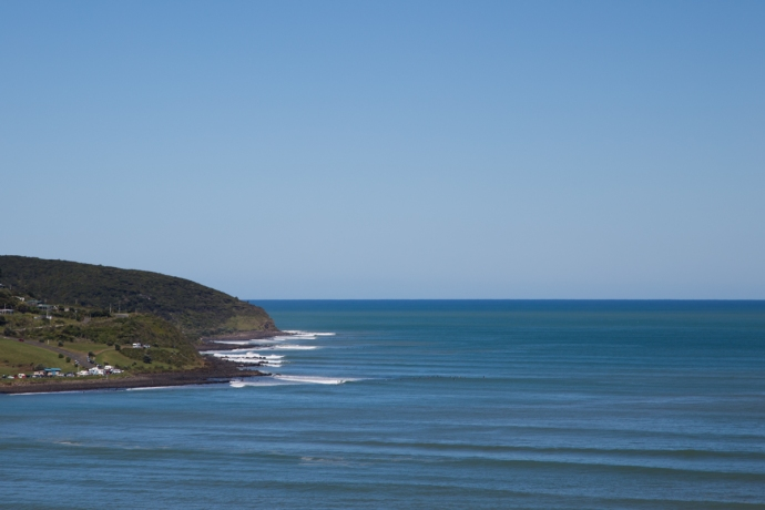 Looking over the entirety of Raglan.  Manu Bay is the first point and then there are several more as you continue west