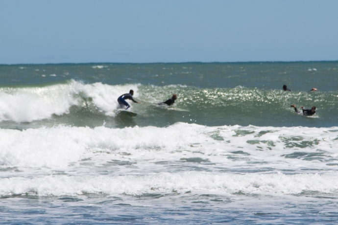 It was crowded and required some aggressive surfing