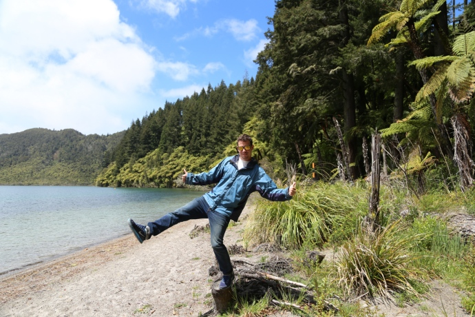 Balancing on the shore of the Blue Lake