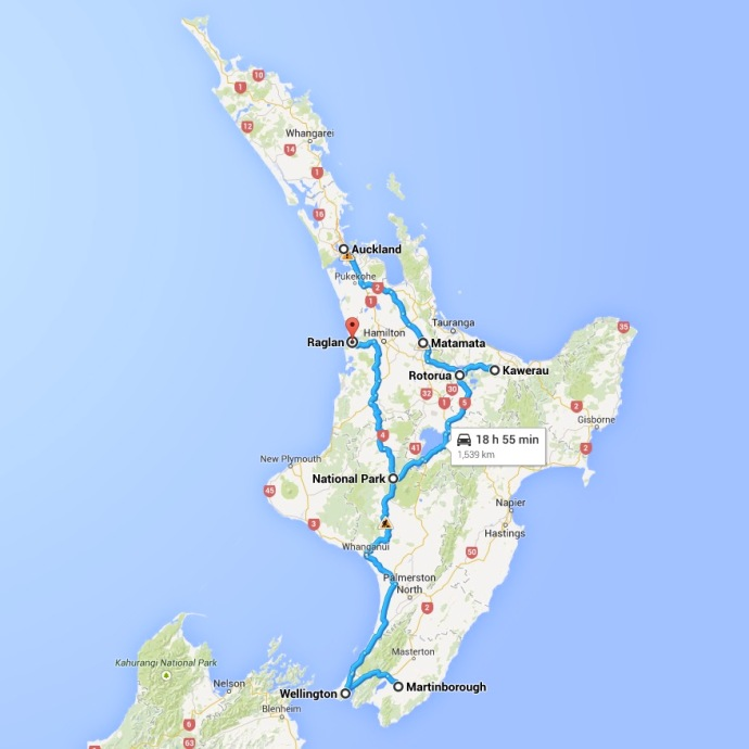 Our route through the North Island