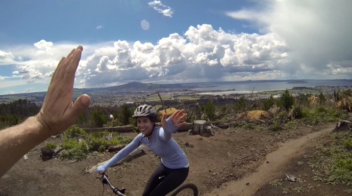 At a great lookout point in the Rotorua Mountain Bike Park.  Lake Rotorua and the town are in the background.