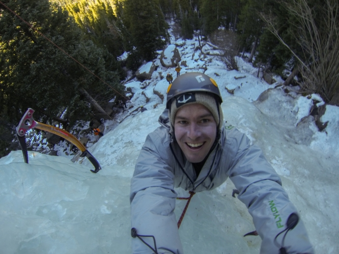 Of course i took a selfie when I was half way up the ice falls!