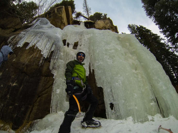 Colin at the base of a frozen Hidden Falls