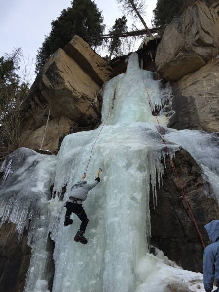 Me embarking on one of my first ice climbing experiences