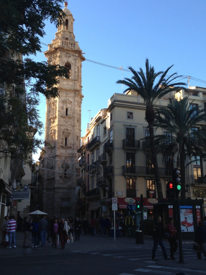 View of the Cathedral's bell tower in the center of Valencia!