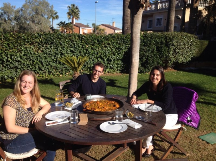 Enjoying an afternoon in the sun with good company and of course, paella
