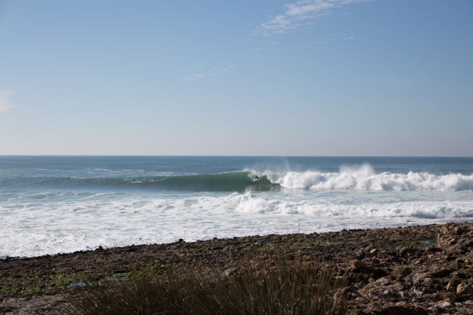 Another shot from the smaller day at Coxos, this one shows how the wave can peel into the cove or long rides