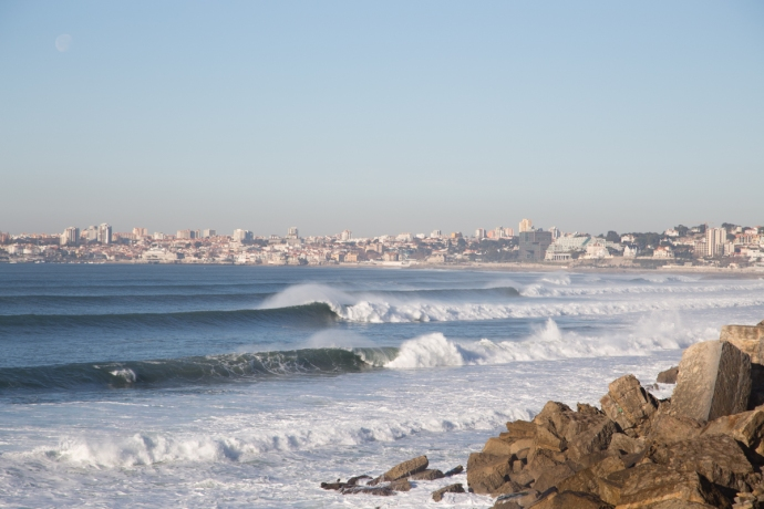 Looking west along the south facing Lisbon coastline towards Cascais. Waves for days.