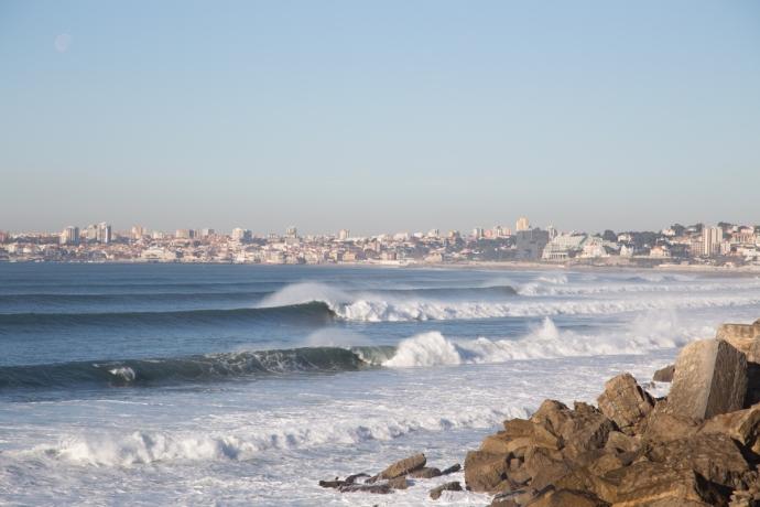Looking west along the south facing Lisbon coastline towards Cascais. Waves for days.