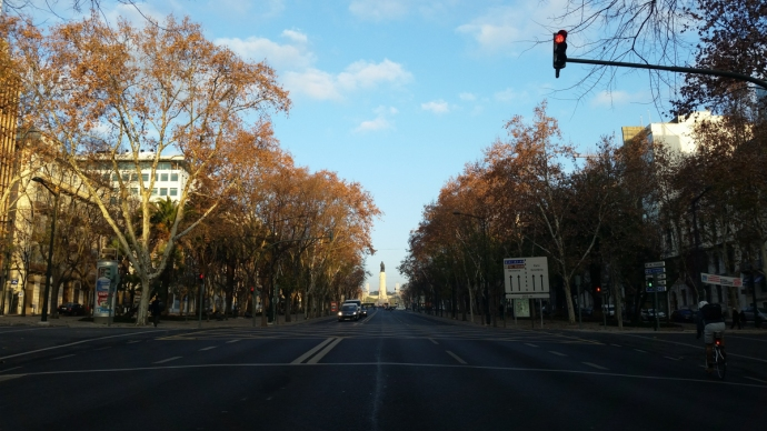 Driving through downtown Lisbon early on a Wednesday morning.