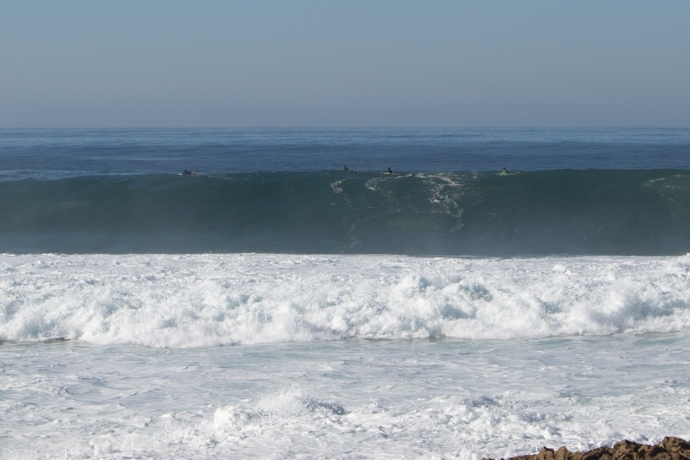 And this photo demonstrates why it was basically pros only out there.  15 foot top-to-bottom waves and a shallow and sharp reef below.   This place can produce severe beatings!