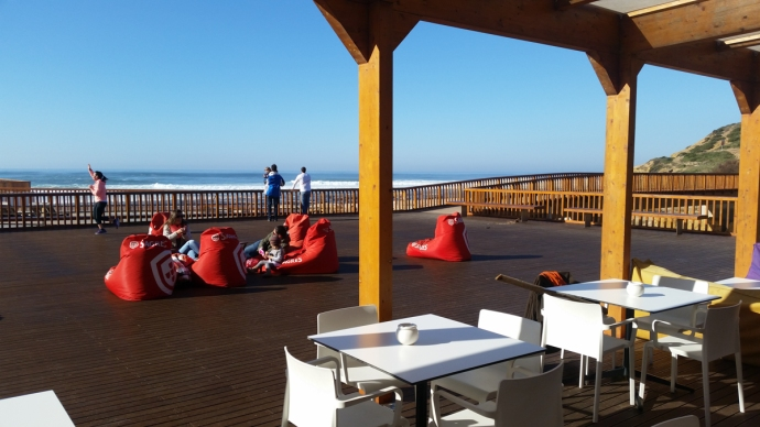 My favorite post surf session lunch spot was at this restaurant right on the beach of Ribeira d'Ilhas