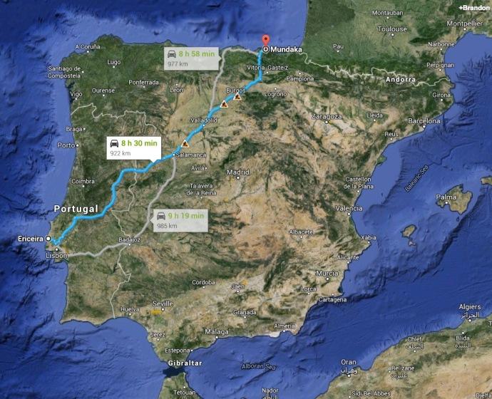 The drive across Iberia from Ericeira to Mundaka. 9 hours.