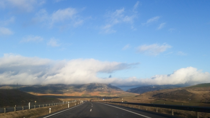 Snapped this pic while driving as I was descending from the desert highlands of Spain into Basque Country