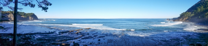 Panorama from the parking lot of Ogella. One of the most pristine locations for a surf spot I've been to.