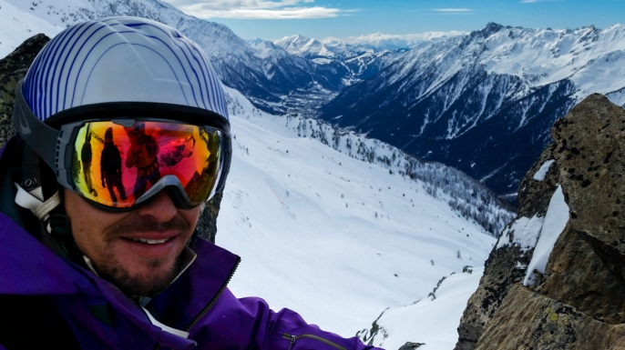 On a ridge in the middle of Grands Montets where we hiked to untouched powder