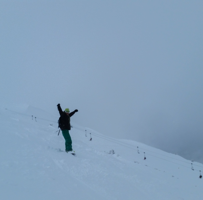 Christophe stoked on the powder