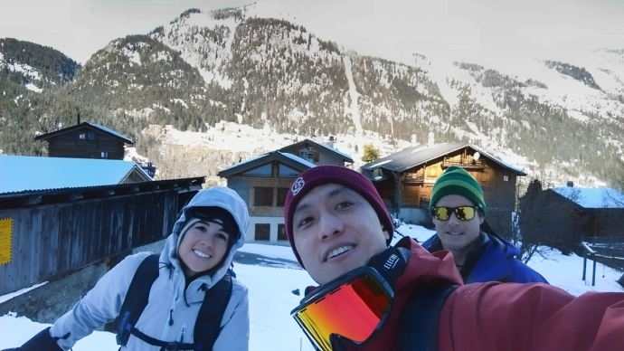 The crew getting ready to ascend in Switzerland